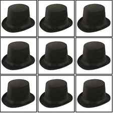 10 x Sombrero de copa negro alto STIFF Adulto Mago Disfraz Ringmaster qr-0023