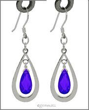 925 Silver Pear Drop Dangle Earring w/CZ Purple #65261