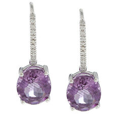 10k White Gold Oval Amethyst and Pave Diamond Earrings (1/8 TDW)