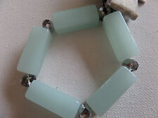 FROSTY PASTEL AQUA GREEN OBLONG & FACETED BEAD BRACELET new in gift pouch