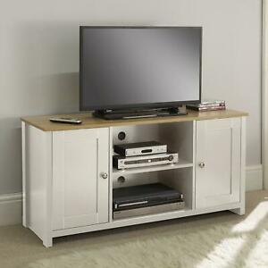 Cream Oak TV Stand Two Tone 2 Door Cabinet Television Unit Open Shelf Cable Tidy