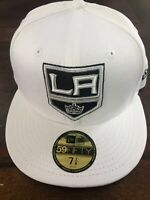 Los Angeles Kings New Era Fitted Hat Cap 7 3/8 White Msrp $35 Nhl Hockey