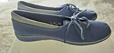 Grasshoppers Women Size 7.5N Blue White Casual Canvas Comfort Tie Up Beach Shoes