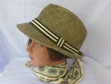 Angela and William Black & Taupe 100% Straw Paper Fedora Hat