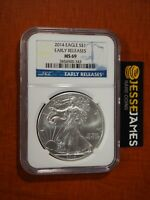 2014 $1 AMERICAN SILVER EAGLE NGC MS69 EARLY RELEASES BLUE LABEL
