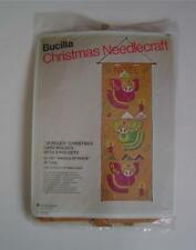 New Bucilla Christmas Needlecraft Kit ANGELS OF PEACE Wall Card Holder Vtg 70's