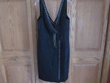 Catherine Malandrino sz 6 Black Rivit 100% Silk Above Knee Faux Wrap Dress $580