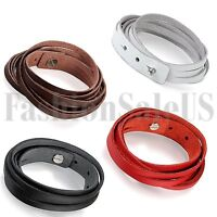 Punk Men's Women's Multilayer Leather Wrap Bracelet Cuff Wristband Bangle Gift
