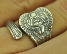 Beautiful 925 Sterling Silver Egyptian Pharaoh Scarab Immortal Amulet Spoon Ring