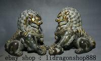 """8"""" Ancien Chinois Bronze Doré Feng shui Foo Fu Chien Garde Lion Paire Statue"""