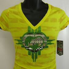 Ecko Red T-Shirt Women's Size S Blazing Yellow Small NEW Bling NWT V-Neck Tee