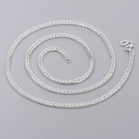 Fine S999 Silver Necklace Man's Women Wheat Square Link Chain 19.6inchL Man's