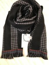 Paul Smith Men Scarf Made In Italy Houndstooth Black 100% Wool