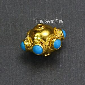 12mm 18k Solid Yellow Gold Fancy Old Turquoise Saucer Spacer Bead (1)