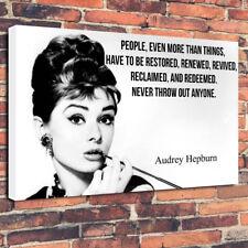 "Audrey Hepburn cita Impreso Cuadro Lienzo A1.30""x20"" 30 mm Marco Profundo"