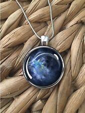 Capricorn Zodiac Sign Astrology Goat Glass Pendant Silver Chain Necklace NEW