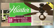 Hunter 54 in. Ceiling Fan LED Indoor/Outdoor with Light Kit Bronze