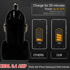 3.1Amp Real Car Charger 12V Dual 2 Port Car Socket Adapter for iPhone Samsung S7