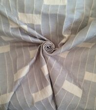 20 Metres Stripe & Swirl Design Chenille Curtain Fabric In Pale Steel & Ivory