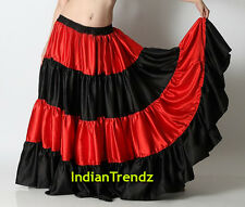 Red & Black Satin 6 Yard Tiered Gypsy Skirt Belly Dance Ruffle Jupe Flamenco Rok