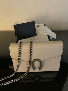 Mint Ivory GUCCI Wallet On Chain Dionysus bag w receipt and box