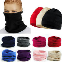 Women Snood Scarf Winter Hat Fleece Neck Warmer Balaclava Men Black Ski MaskTO
