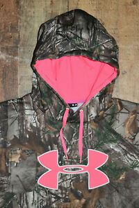 UNDER ARMOUR Womens Sz Medium Realtree Camo Big Pink Logo Coldgear Hoodie EUC 74