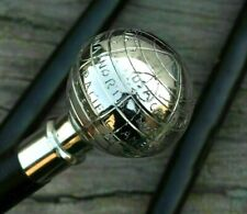 CLASSIC STYLE WOODEN WALKING STICK CANE BRASS PLAIN BALL HANDLE NICKLE FINISH