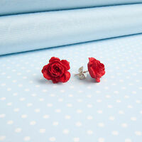 ROSE STUD EARRINGS hand-painted flower jewellery made in mid Wales,UK