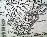 WILLIAM T. SHERMAN'S ARMY South Carolina Invasion Civil War MAP 1865 Newspaper