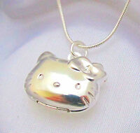 Sterling Silver Hello Kitty Cat Kids Locket Pendant Necklace Photo Gift Box