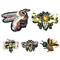 Handmade Rhinestone Beaded&Sequin Patches,Bees Cool Fashion Sew On Crystal N3D9