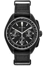 Bulova Special Edition Lunar Pilot Chrono 30m S. Steel Leather Watch 98A186