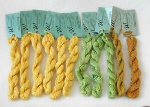 THREAD - WATERCOLOURS BY CARON - LOT OF 11 - VARIEGATED YELLOWS, GREEN, TAN NEW!