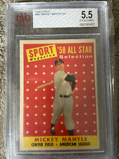 1958 Topps All-Star Mickey Mantle #487 Yankees Beckett 5.5 Excellent + ICONIC
