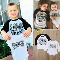 US Stock Infant Baby Boys Little Big Brother Romper T shirt Jumpsuit Outfits Set