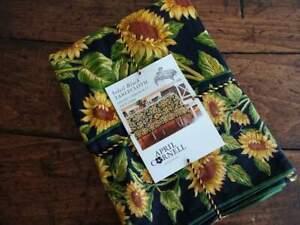 APRIL CORNELL SOLEIL BLACK Gold SUNFLOWER Cotton TABLECLOTH  Assorted Sizes