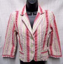 Cabi #300 Bistro Jacket Sz 4 Pink Green Pastel Striped 3/4 SL Pleat Ruffle Edges