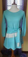 New listing Vintage 60's Blue Go-Go White Fringe Mod Mini Dress Size Xs/S