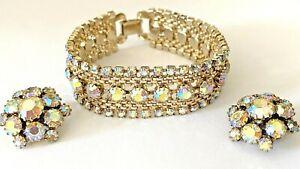 Vintage Signed Weiss Chain Aroura Borealis Rhinestone Bracelet Clip On Earrings