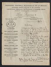 """ETAMPES (91) DROGUERIE DE LA BEAUCE & PHARMACIE """"Lucien ARQUEVAUX"""" 1929"""