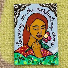 ORIGINAL ACEO Folk Art Woman Girl Lady Flower Christian Hymn Portrait Leaf Lean