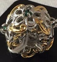 NWT Gems En Vogue Emerald Green Flower Slide-On Sterling Palladium 18K Charm