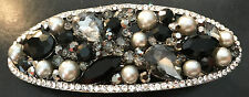 New Black & Smoke Crystal With Pearls 3''Hair Barrette