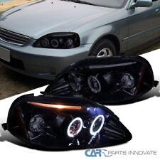 Glossy Black For Honda 99-00 Civic 2/3/4Dr Dual Halo LED Projector Headlights