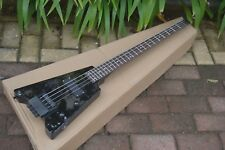 Headless Electric Bass Guitar,  4 Strings Bass Matte Black Two Pieces Pickups