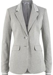 Baumwoll Jersey-Blazer mit gestreiften Details Gr. 44 Hellgrau Damenblazer Neu