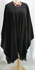 VTG Black Wool Cape Style Shawl Sweatercoat Warm cover jacket shrug L XL 2X 3X