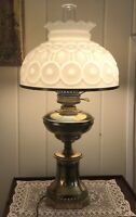 Vintage Milk Glass White Moon and Stars Pattern LG Wright Brass Electric Lamp
