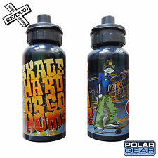 POLAR GEAR 'SKATE HARD OR GO HOME' WATER BOTTLE METAL ALUMINIUM DRINK SKATEBOARD